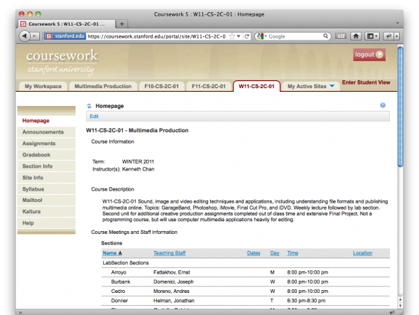 coursework info password