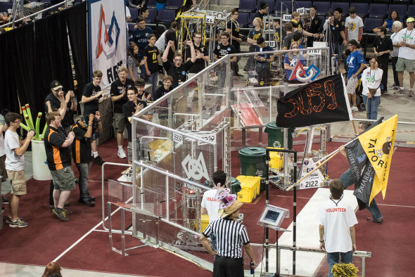 Globe TigeRobotics gets their shot at the Playoffs with top-ranked alliance members Team 2122 (Boise) and Team 3309 (Anaheim).
