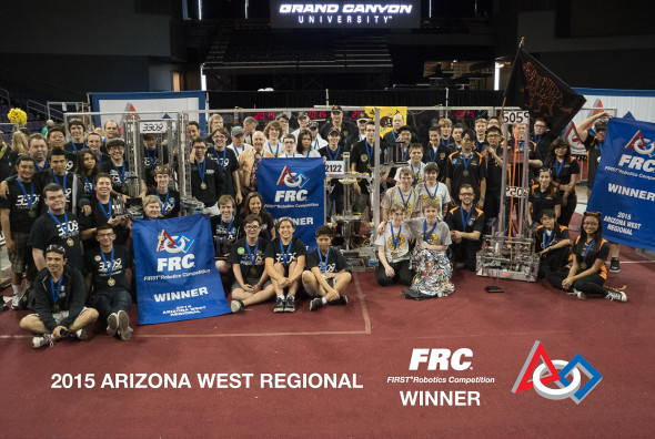 2015 Arizona West Regional champions: Team 3309 (Anaheim), Team 2122 (Boise), and Team 5059 (Globe). Photo by Kenneth Chan Photography.